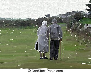 elderly couple - This is a very rough painting of an elderly...
