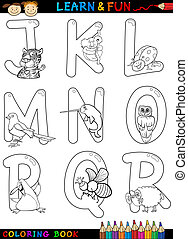 Cartoon Alphabet with Animals for coloring - Cartoon...