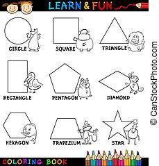 básico, formas, animales, colorido