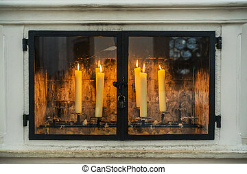 Candles in a church in Bavaria Ger