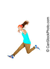 street jump - Happy girl jumping at studio. Isolated over...