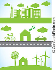 green city with car and bike, ecology. vector illustration