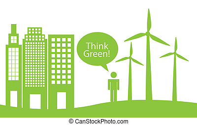 green city - ecology city with man, think green. vector...