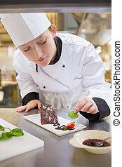 cozinheiro, bolo, hortelã, pôr, femininas