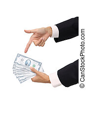 Point to cash in business man on white background.