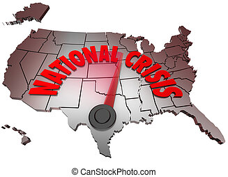 National Crisis USA Map United States America Trouble - The...