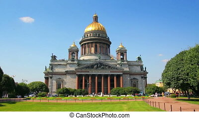 isaakiy cathedral church in Saint-petersburg, Russia - timelapse