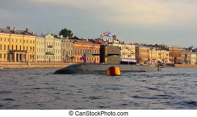 submarine on Neva River - day of the Navy in St. Petersburg