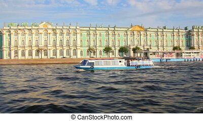 Hermitage on Neva river in St. Petersburg Russia - shooting...