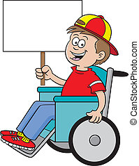 wheelchair sign - Cartoon illustration of a boy in a...