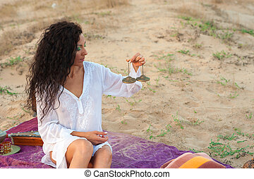 Peaceful scene - Hispanic woman in a peaceful spiritual...