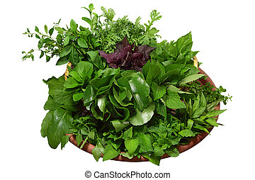Homegrown Herbs - Homegrown herbs, vegetable isolated on...