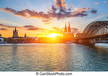 Cologne at sunset - View on Cologne at sunset