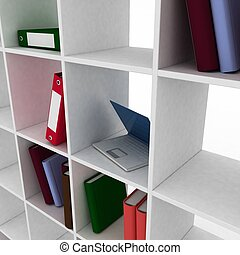 3d book shelf with instruments for office