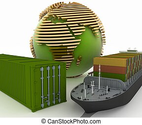 Conception of delivery of commercial loads a marine transport. 3d illustration.