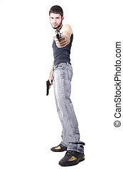 Man with guns - Young man with guns, isolated on white...