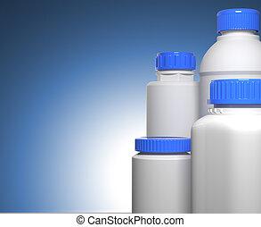 Pill Bottles on Blue Background. - Pill Bottles on Blue...
