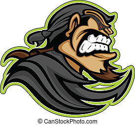 Bandit Raider Thief Mascot with Mask and Bandana Graphic...