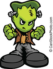 Tough Guy Cartoon Frankenstein Monster Vector Graphic -...