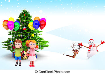 kid with christmas tree - 3d art illustration of kid with...