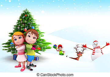 kids standing before christmas tree - 3d art illustration of...