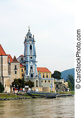 The beautiful Durnstein abbey from the Danube River Wachau...