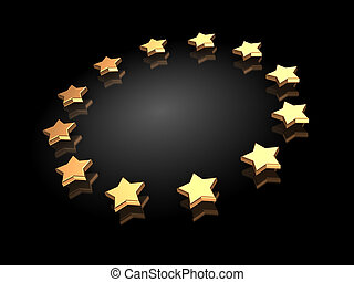Ranking: group of golden stars on a black background