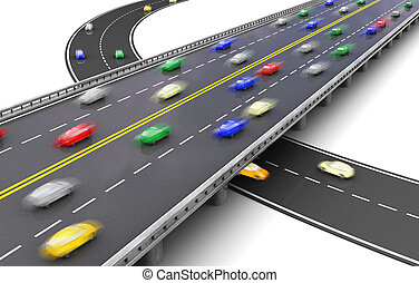 Traffic - 3d of road way with several colorful cars driving