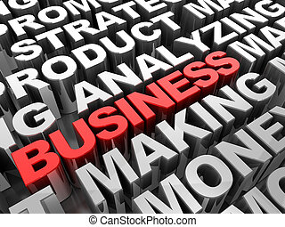 Business word - Red 3d text business in the center of grey...