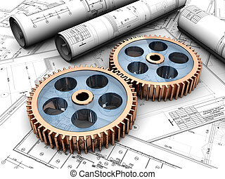 Industrial project of two gears over project