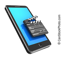 Cellphone with clapper - Modern phone with clapperboard...