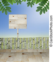 empty wooden signboard on beautiful nature background