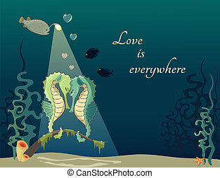 Greeting card wit two seahorses on the rendezvous - Cartoon...