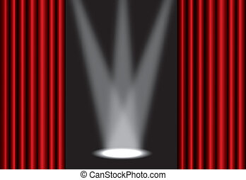 Red theater curtain with spotlight on stage, EPS10