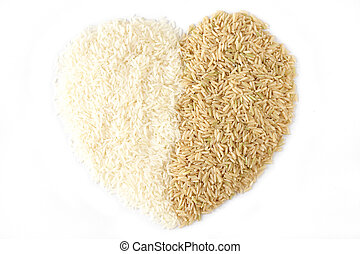 white rice and brown rice heart isolated on white
