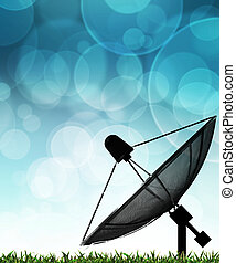 Satellite dish on global background