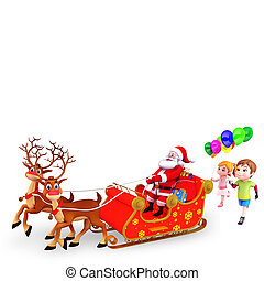 santa with kid and sleigh - 3d art illustration of santa...