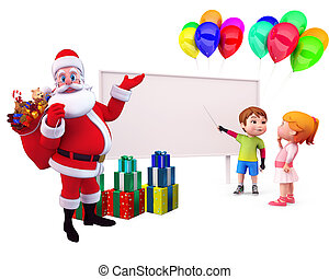 santa pointing on sign with kids