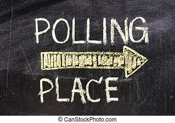 Polling Place on blackboard