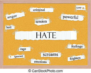 Hate Corkboard Word Concept with great terms such as anger,...