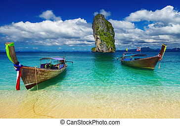 Tropical beach, Andaman Sea, Thailand - Long tail boats,...