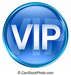 VIP icon blue, isolated on white background