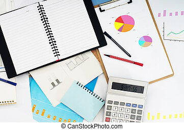 Business pie chart - Chart with pen and calculator