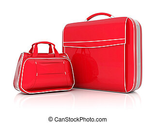 red suitcase isolated on white background