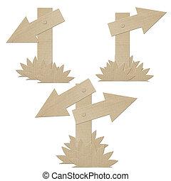 set cardboard navigation arrows on a white background