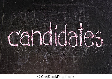 Candidates written on blackboard in chalk and underlined