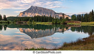 Rundle Mountain Reflection - Rundle mountain reflected in...