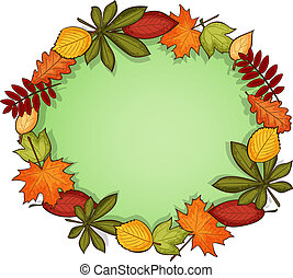 Autumn vector frame - Round frame with ornament of autumn...