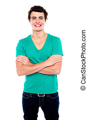 Half length portrait of stylish casual young guy posing with...