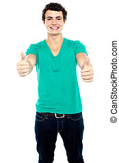 Guy showing thumbs up, arms stretched out Isolated over...